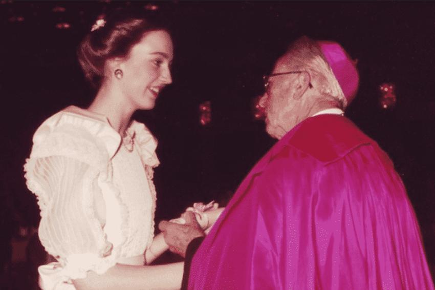 St-Patricks-Debutante-with-Archbishop-at-1970-Graduation